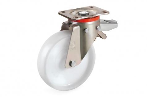 S68P Plaatkinnitusega, pöörduv, piduriga ratas, Ø 125 x 45 mm, 650kg